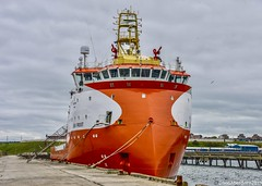 Sea Frost - Peterhead Harbour Scotland - 23rd May 201 (DanoAberdeen) Tags: orange clouds sky sea water berth restrained tiedup harbour supplyships 2019 danoaberdeen offshore amateur candid shipping ship seafrost peterhead aberdeenshire blootoon blue autumn winter summer spring