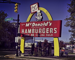 Coast to Coast (Pete Zarria) Tags: green indiana mcdonalds hamburger fries red blue yellow malt shake eat roadside old neon sign speedee icon drive