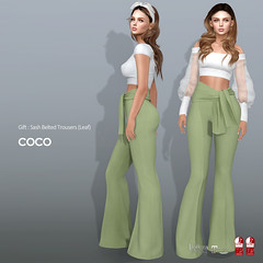 COCO Group Gift : Sash Belted Trousers (Leaf) (cocoro Lemon) Tags: coco groupgift trousers secondlife fashion mesh maitreya slink belleza midheel