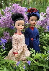 The Poppins sisters (Foxy Belle) Tags: doll mary poppins tammy reliable canada brunette hat blue red flower outside garden lilac vintage collection