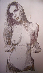 Jocelyn Johns (Tenazadrine Boy) Tags: art artwork handmade hand made stencil handcut cut breast busto senos tuts sexy girl blonde blondie hot nude naked emptyboy empty boy tits boobs window ventana windows ventanas