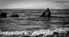 Culzean Castle Beach . (wayman2011) Tags: colinhart fujifilmxf35mmf2 fujifilmxt1 lightroom5 wayman2011 bw mono coast seascapes rocks scotland culzean uk