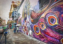 Chinatown in San Francisco 5.18.19 3 (Marcie Gonzalez) Tags: street art mural district umbrella people person walking sidewalk architecture san francisco california rain wet 2019 usa us north america marcie gonzalez marciegonzalez marciegonzalezphotography photography canon road trip chinatown china town chinese asian old streets building buildings colorful colors sign signs historic