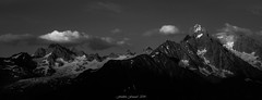 Evening Serenity (N/B) (Frédéric Fossard) Tags: panorama monochrome noiretblanc blackandwhite montagne mountain paysage landscape mountainscape sunset coucherdesoleil soir evening glacier alpes hautesavoie massifdumontblanc glacierdutour chardonnet lumière light ombre shadow twilight dusk mountainpeak mountainridge nuage cloud sunsetglow