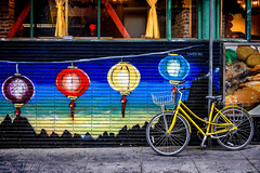 Chinatown in San Francisco 5.18.19 8 (Marcie Gonzalez) Tags: bike bicycle yellow art street lanterns painting window windows san francisco california rain wet 2019 usa us north america marcie gonzalez marciegonzalez marciegonzalezphotography photography canon road trip chinatown china town chinese asian old streets building buildings colorful colors sign signs walking historic