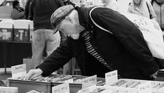 Record Fair 03 (byronv2) Tags: blackandwhite blackwhite bw monochrome street candid peoplewatching shop shoping market streetmarket recordfair oceanterminal record vinyl vinylrecord album music stall edinburgh edimbourg scotland leith