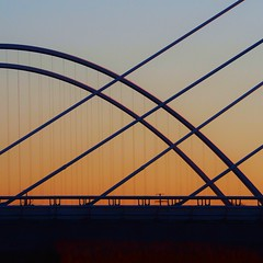 Two Bridges at Sunset (2n2907) Tags: abstract architecture bridge bridges sunset silhouette structure geometric geometry pattern lines graphical olympus omd mirrorless