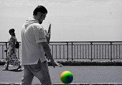 Ball bounce (Robert S. Photography) Tags: man strolling ball bouncing rainbow spring warm water blackandwhite selectivecolor sea gate scenery brooklyn newyork sony iso80 dsch55 may 2019