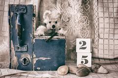 The eye of the key holder (judi may) Tags: teddybear teddy vintage lace key stilllife tabletopphotography canon5d 50mm
