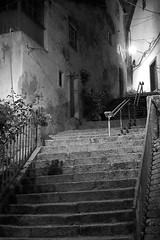 A  stroll in the night (lebre.jaime) Tags: portugal beira covilhã nightphotography architecture street stairs house ptbw blackwhite bw noiretblanc pb pretobranco fx ff fullframe nikon d600 voigtländer nokton 58f14sliis digital