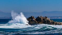 Splash on the Rocks No3 (CDay DaytimeStudios w /1 Million views) Tags: ca pebblebeach water 17miledrive pacificcoasthighway bluesky california highway1 montereyca pacificgrove carmelca ocean pacificcoast beach sky seascape coastline landscape rocks montereybay