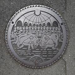 Uwajima Manhole Cover (Bracus Triticum) Tags: uwajima manhole cover 宇和島市 ehimeprefecture shikoku 四国 愛媛県 松山市 日本 japan bicycletriparoundshikoku 4月 四月 卯月 shigatsu uzuki unohanamonth 2019 平成31年 spring april