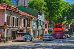 Traditional shop houses on Northbridge Road near Sultan Mosque in Singapore (UweBKK (α 77 on )) Tags: traditional heritage culture shop house architecture building road street car bus northbridge singapore southeast asia sony alpha 77 slt dslr vividstriking