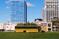 Field Trip to Milwaukee (Cragin Spring) Tags: midwest unitedstates usa unitedstatesofamerica building milwaukee milwaukeewi milwaukeewisconsin wisconsin wi downtown schoolbus bus fieldtrip