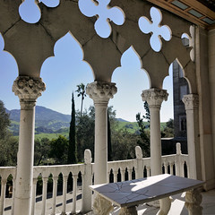 Doge's Suite Balcony (█ Slices of Light █▀ ▀ ▀) Tags: balcony loggia venetain gothic style mountain view doges suite la casa grande ceiling painted wood wooden 2nd second floor william randolph hearst castillo castle 赫斯特 赫斯特城堡 san simeon california 加州 加利 福尼亞 usa sony rx1rm2 rx1rii rx1r ii m2 panorama stitched arcsoft maker