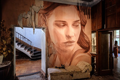 The Waiting Room (realstephenwhite) Tags: mural portrait abandoned interior decay derelict realstephenwhite art face rone stephenwhite empire painting streetart