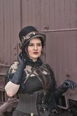 (slammerking) Tags: steampunk model goggles hat gloves woman lady posing trancar