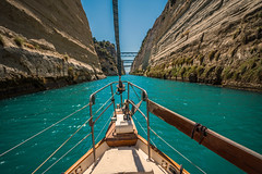 Gorge navigation...... (Dafydd Penguin) Tags: ionian sea water canal yacht bow yachting sailboat sail boat vessel ship gorge cliffs corinth greece aegean navigate leica m10 21mm super elmar f34