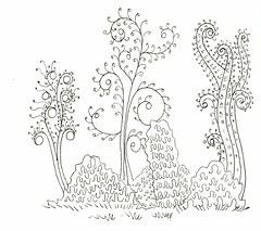 Swirly Tree & Squiggle Bush (Life Imitates Doodles) Tags: funeasylandscapes