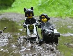 Holy Mother of Mud (captain_joe) Tags: lego minifigure minifig motorrad motocycle motobike puddle rain regen kathryn jewell 365toyproject toy spielzeug pfütze