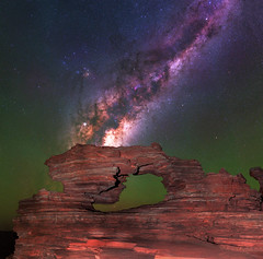 Milky Way at Nature's Window - Kalbarri, Western Australia (inefekt69) Tags: kalbarri national park natures window rock formation panorama stitched mosaic ms ice milky way cosmology southern hemisphere cosmos western australia dslr long exposure rural night photography nikon stars astronomy space galaxy astrophotography outdoor core great rift ancient sky 50mm d5500 landscape nikkor prime lens ioptron skytracker hoya red intensifier filter