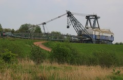 Walking Dragline - St Aidan's Great Preston West Yorks - 300419 (1) (Ann Collier Wildlife & General Photographer) Tags: staidansrspbreserve royalsocietyfortheprotectionofbirds naturalhistory naturereserves walkingdragline opencastcoalmining coalminingequipment machinery westyorkshire birds oddball