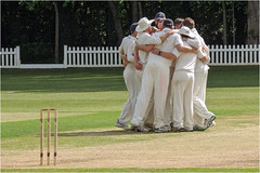 145.2 The huddle (Dominic@Caterham) Tags: huddle cricket players wicket stumps trees shadows
