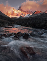 Fire and Water (Andrew G Robertson) Tags: fitzroy sunrise river patagonia argentina el chalten