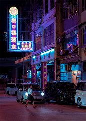 Kowloon City Night (mikemikecat) Tags: neon lights sign colored one person woman only bladerunner moodygrams kowlooncity mikemikecat city mode transportation night building exterior architecture motor vehicle illuminated built structure car land street communication life text incidental people road outdoors nightlife