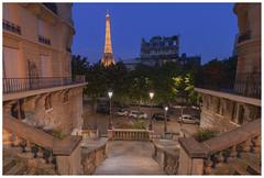 Avenue de Camoens. Eiffel-Tower (babell4321) Tags: eiffeltower paris france beverleybell 2019 bluehour longexposure canon architecture steps recent explore buildings weekendaway city trees