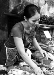. (Out to Lunch) Tags: ba chieu market saigon ho chi minh city vietnam butcher street meat selling small business blackwhite fuji xt1 xf1256r