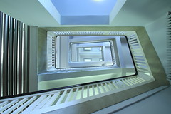 Mint-colored (Elbmaedchen) Tags: staircase stairs stairwell stufen steps treppenhaus treppenauge treppe treppenaufgang treppenstufen escaliers escaleras interior indoor upanddownstairs upstairs universität campus hamburg finkenau mediencampus architektur architecture mint pastell linien lines curves