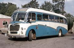 Tally Ho ! Coaches . Kingsbridge , South Devon . NEW2 . Kingsbridge Garage , South Devon . August-1976 . (AndrewHA's) Tags: kingsbridge devon bus coach tallyho coaches bedford sbg duple new2 blue white second hand robinson kimbolton cambridgeshire