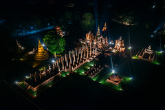 Aerial view of Wat Mahathat temple (MongkolChuewong) Tags: aerial aerialview ancient archeology architecture art asia asian beautiful buddha buddhism buddhist building city culture drone heritage historic historical history landmark mahathat night old outdoor pagoda park religion ruins scenic sculpture site statue sukhothai sunset temple thai thailand top tourism tourist town traditional travel tree unesco view wat world worship