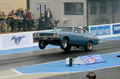 (Sam Tait) Tags: santa pod raceway door slammers drag strip race racing track chevy chevrolet chevelle ss wheelie wheel stand launch blue v8