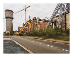 170930_173416_oly-PEN-f_heusden-zolder_de schacht_8/9 (A Is To B As B Is To C) Tags: aistobasbistoc b belgië belgium limburg heusdenzolder koeltorenlaan deschacht koolmijn industrialheritage industry industrial street crane cranes tower yellow baldewijn demolition cooling koeltoren olympus penf color