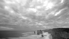 12 Apostles (Wilson Au | 一期一会) Tags: australia victoria twelveapostles blackandwhite monochrome landscape sea ocean rocks cloud overcast canon eos5dmarkiii ef2485mmf3545usm slowshutter longexposure