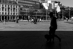 Playing With Silhouettes #4 (EightBitTony) Tags: shadow mammal people person city nottingham canid animal female citycentre man urban silhouette contrast male streetphotography woman dog canonm6 blackandwhite may 2019 uk nottinghamshire bw blackwhite canon canoncsc canoneos canoneosm6 mono monochrome england unitedkingdom