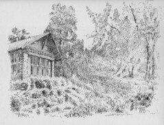 A Corner of Miller Lash House, 2019-05-22 (light and shadow by pen) Tags: pen ink drawing millerlashhouse toronto illustration art
