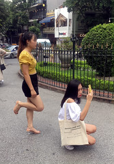 Street Selfies (cowyeow) Tags: cute young oldhanoi hanoi vietnam asia asian street urban city people girl woman pretty shorts asiangirl vietnamese vietnamesegirl vietnamesewoman sexy candid selfie selfies together friends church catholic student students cathedral stjosephscathedral stjosephs