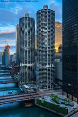 Marina City Sunrise (20190525-DSC07973) (Michael.Lee.Pics.NYC) Tags: chicago chicagoriver marinacity aerial hotelview wyndhamgrandchicagoriverfront architecture cityscape sony a7rm2 fe24105mmf4g wolfpoint