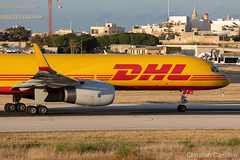 European Air Transport (DHL) Boeing 757-23N(SF) 'D-ALEU' LMML - 14.05.2019 (Chris_Camille) Tags: runway pilot pilotstories aviation avgeek canon canonphotography canonaviation withcanonyoucan red clouds airline maltese islands canon5d aviationgeek mla airport takeoff fly sky plane aircraft airplane maltairport spotting planespotting registrations spottinglog dhl european air transport cargo freighter yellow long boeing757 757 752