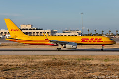 European Air Transport (DHL) Boeing 757-23N(SF) 'D-ALEU' LMML - 14.05.2019 (Chris_Camille) Tags: runway pilot pilotstories aviation avgeek a320 canon canonphotography canonaviation withcanonyoucan red clouds airline maltese islands canon5d aviationgeek mla airport takeoff fly sky plane aircraft airplane maltairport spotting planespotting registrations spottinglog