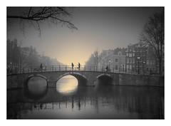 Traverse (Vesa Pihanurmi) Tags: amsterdam holland netherlands dawn morning fog foggy mist trees bridge people reflection city cityscape