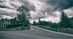 DAVERDISSE (bert • bakker) Tags: daverdisse ardennen belgium belgië dorp village darkclouds donkerewolken church kerk tree boom weg road lamppost lantaarnpaal wiring stroomdraden