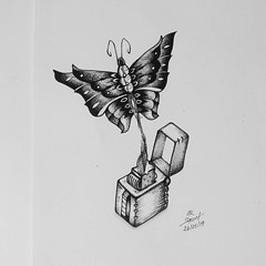 let it fly (punsquid) Tags: draw drawing art animal butterfly blackandwhite picture nature paper pen sketch artwork
