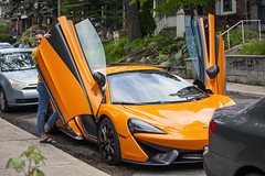 Getting into a McLaren - a 570S? (jer1961) Tags: toronto car sportscar mclaren 570s mclaren570s wingdoor gullwingdoor falconwingdoor