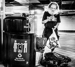 The New Yorkers - Bags and cans (François Escriva) Tags: street streetphotography us usa nyc ny new york people candid olympus omd photo rue light black white bw noir blanc nb monochrome manhattan station recycle beard man subway underground