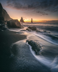 First on the scene (KasparsDz) Tags: iceland landscape beach waves sea ocean atlantic nature long exposure travel earth sunrise morning early