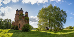 Abandoned Church. (Oleg.A) Tags: grass spring penzaregion russia church nature hill orange summer tree tower orthodox architecture wall village saintmichaelthearchangelchurch ruined shadow building sunset old brick outdoor rural evening ancient light destroyed countryside blue colorful interior dome green forest sunny design belogorka skyscape sun exterior sky field